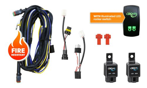 12v and 24v dual wiring harness kit with illuminated LED rocker switch