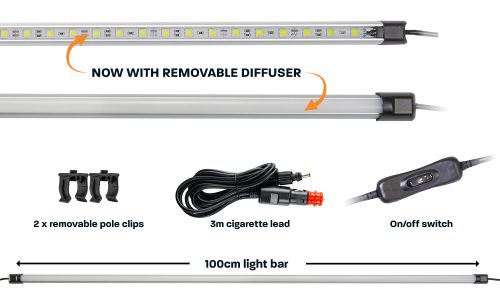 100cm white LED camp light bar with diffuser