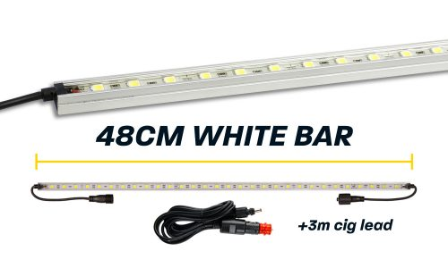 48cm White LED Camp Light Bar with Cig Lead