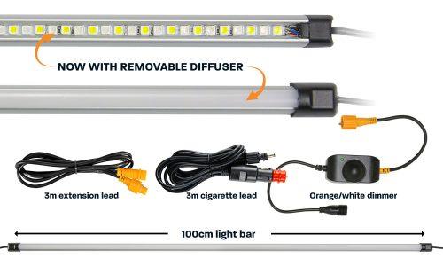 100cm orange white LED camp light bar with diffuser