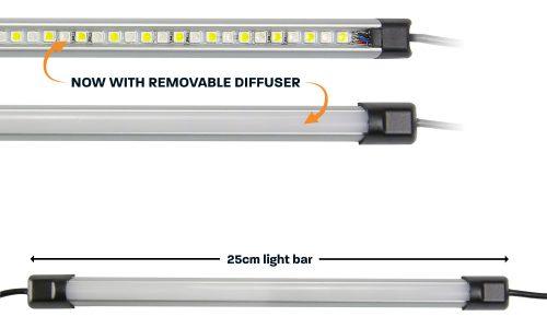 25cm orange white LED camp light bar with diffuser