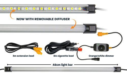 48cm orange white LED camp light bar with diffuser