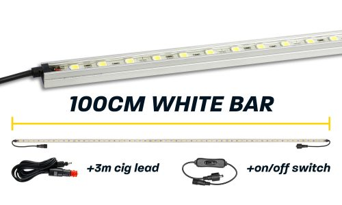 100cm White LED Camp Light Bar with Cig Lead & Switch