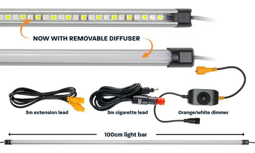 100cm orange white LED camp light bar with diffuser